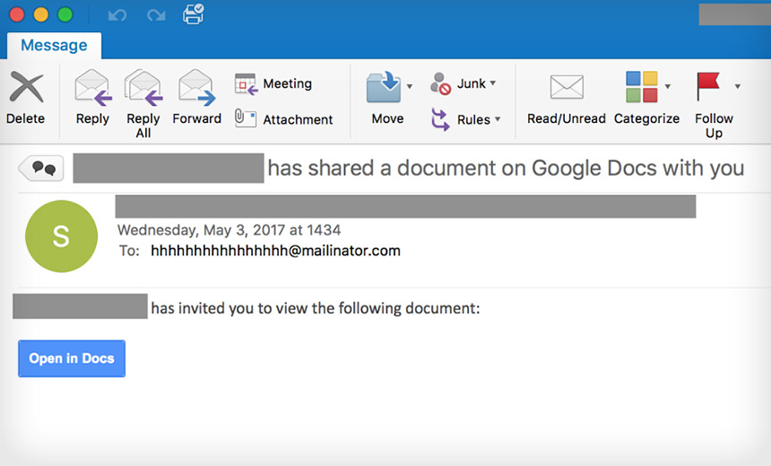 Attackers Unleash OAuth Worm via 'Google Docs' App