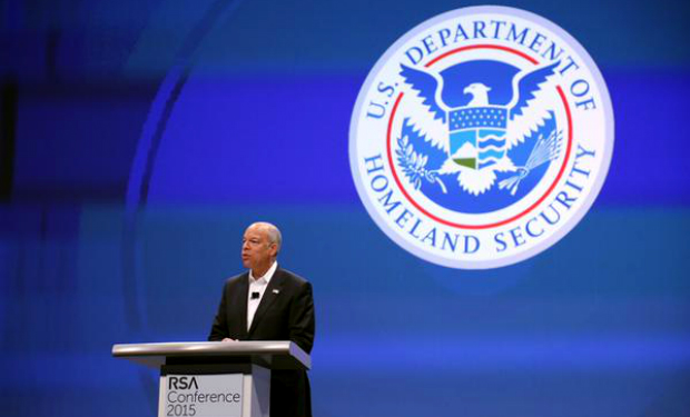 DHS Secretary Jeh Johnson addresses the RSA conference.